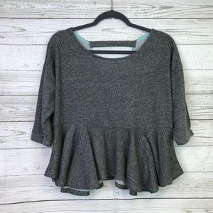 Saturday Sunday knit croppd peplum top terry Small